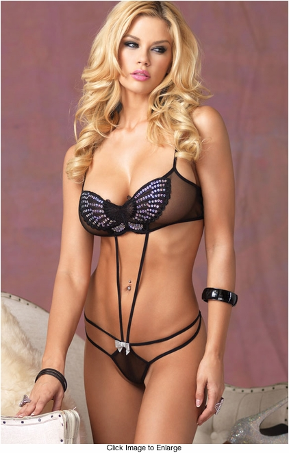 Sequin Butterfly Strappy Teddy