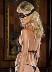 Stretch Fishnet Teddy and Mask