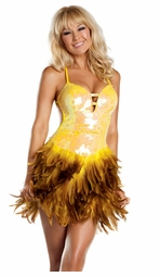 Yellow Sequin and Feather Dress