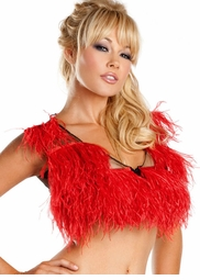 Red Ostrich Feather Top