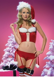 Naugty Miss Santa Underwire Bustier with Garter Shorts