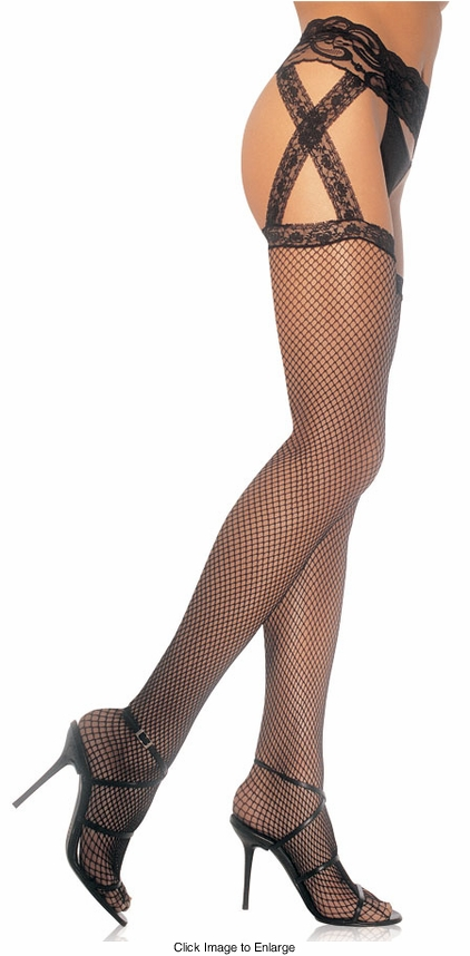 Fishnet Thigh High Stockings with Criss Cross Garter Belt