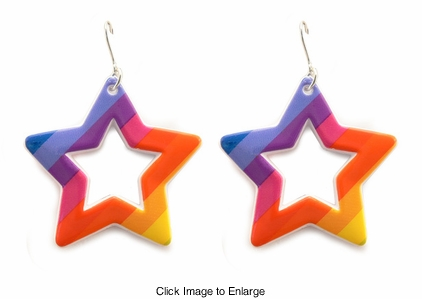"2"" Rainbow Star Earrings"