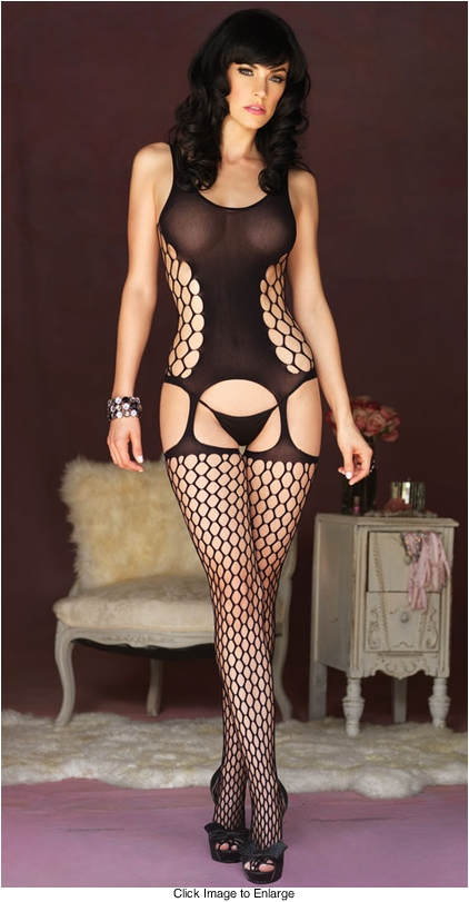 Geometric Net Suspender Bodystocking