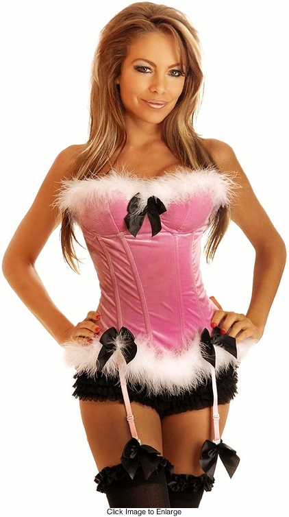 Pink Velvet and Marabou Feathers Corset