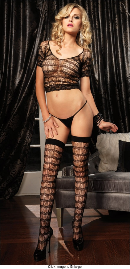 Net and Lace Crop Top, Thigh Highs and G-string
