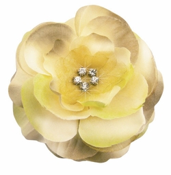 "3.5"" Luxe Silk and Chiffon Flower Hair Clip in Moss Green"