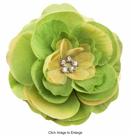 "3.5"" Luxe Silk and Chiffon Flower Hair Clip for Crystal Center"