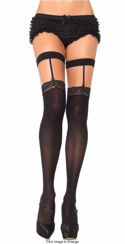 Opaque Lace Top Suspender Stockings