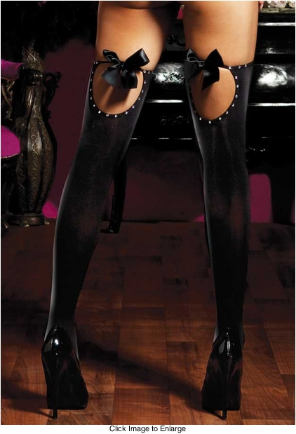 Opaque Thigh Highs with Keyhole Back and Satin Bows