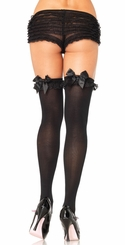 Opaque Thigh High Stockings with Chiffon Ruffle and Satin Bow