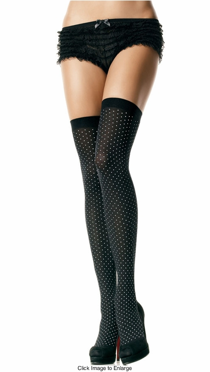 Opaque Polka Dot Thigh High Stockings