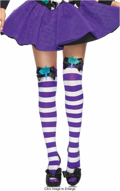 Mad Hatter Thigh High Stockings