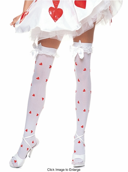 Opaque Thigh High Stockings with Hearts, Ruffle Top and Bow