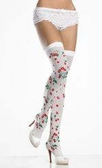 Opaque Thigh High Stockings with Cherry Print