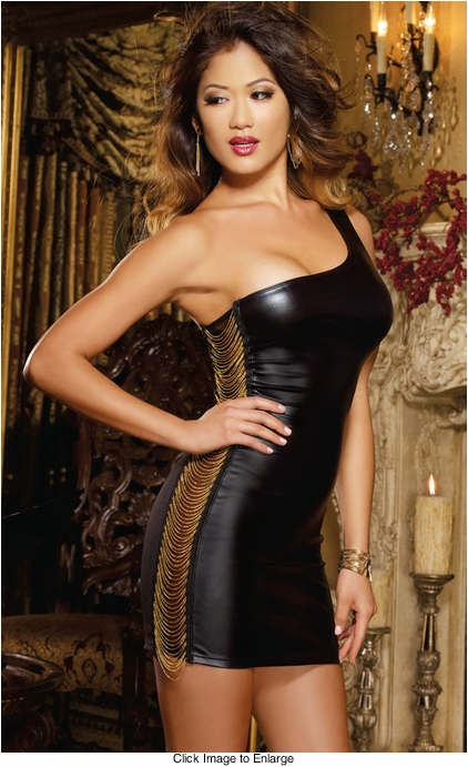 One Shoulder Dress with Chain Trim