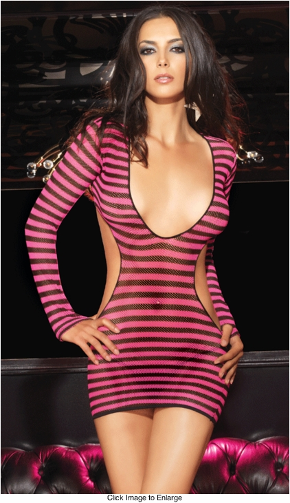 Striped Fishnet Mini Dress with Open Back