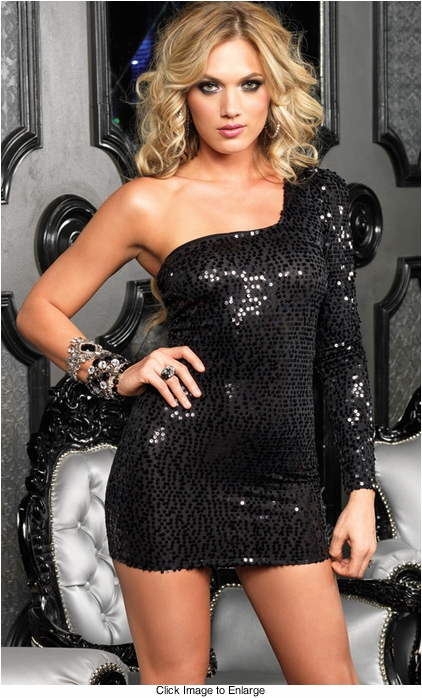 One Shoulder Asymmetrical Black Sequin Mini Dress
