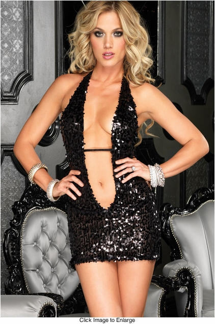 Black Sequin Mini Dress with Deep V-Front and Open Back