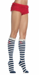 Sailor Stripe Knee Highs with Lace and Anchor