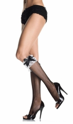 Fishnet Knee Highs with Contrast Lace Ruffle and Bow