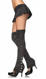 Lurex Knit Legwarmers with Rhinestone Buttons