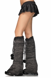 Lurex Bell Bottom Legwarmers with Pom Pom Ties