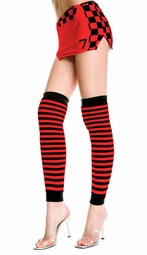 Stripe Leg Warmers in Black and Red