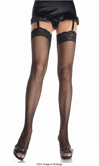 "Fishnet Thigh Highs With 3"" Lace Cuff"