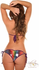 Metallic Rainbow Pucker Back Bikini