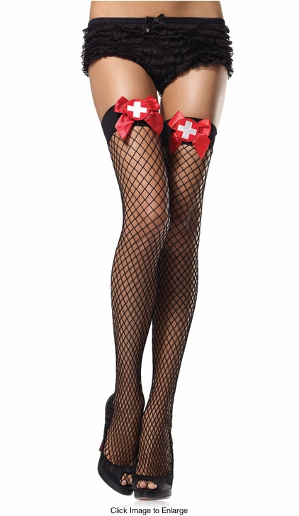 Industrial Net Fishnet Thigh Highs with Nurse Badge Bows