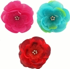 "3.5"" Luxe Silk and Chiffon Flower Hair Clip with Crystal Center"