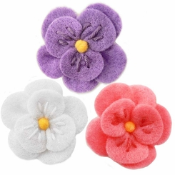 "2"" Wide Adorable Vintage Felt Flower Hair Clips (45 colors Available)"
