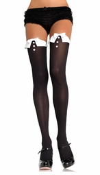 Opaque Tuxedo Thigh High Stockings