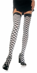 Checkered Thigh High Stockings