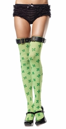 Lucky Clover Thigh Highs with Buckle Top