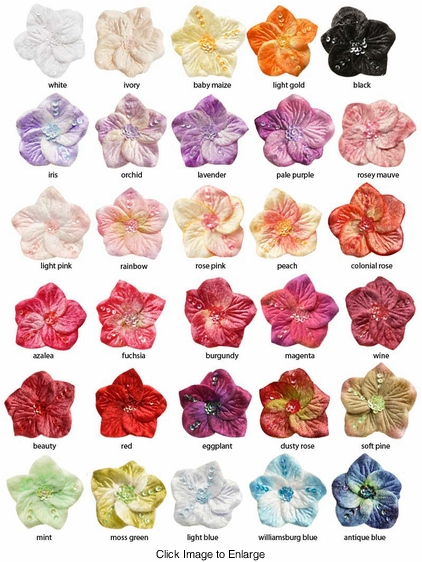 "2"" Velvety Sequin Flower Hair Clip (available in 30 colors)"