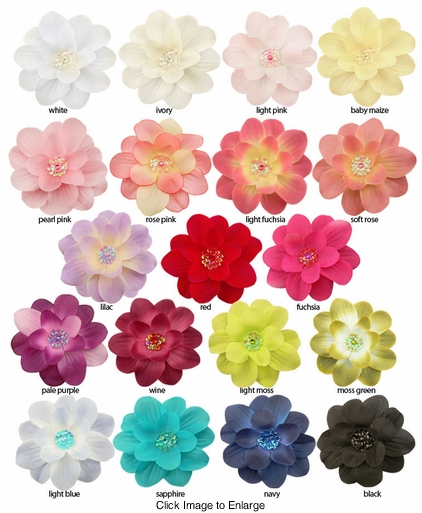 "4"" Wide Flower Hair Clip with Sequin Center (available in 19 colors)"