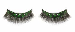 False Lashes with Green Feathers and Crystals