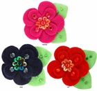 "2"" Crystal and Felt Flower Hair Clips (available in 35 colors)"