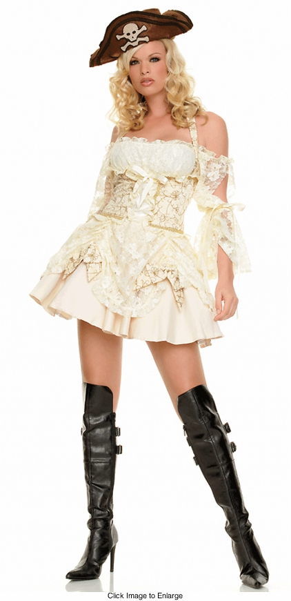 Pirate Captain Costume in Creamy Lace