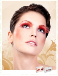 Super Long Red Lashes with Silver Holographic Lurex