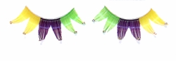 Yellow, Purple and Green Rhinestone False Eyelashes