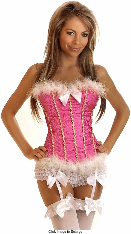 Pink Corset with Marabou Trim