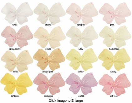"""4"""" Chiffon Butterfly Hair Clip with Iridescent Sequins"""