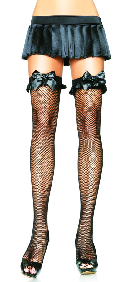 Fishnet Thigh High Stockings  With Satin Bow and Ruffle