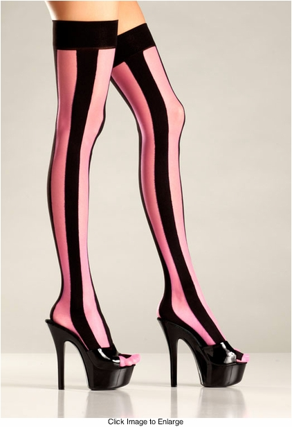 Vertical Stripe Thigh High Stockings