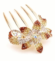 "2.5"" Wide Crystal Flower Hair Comb"