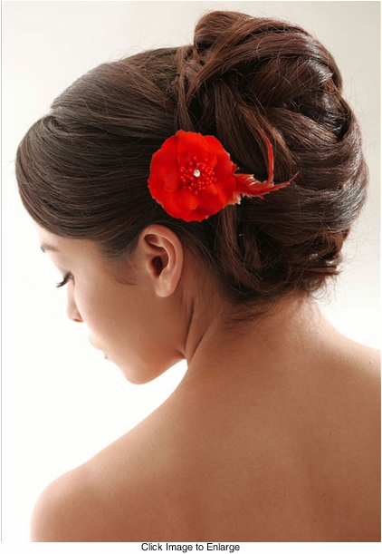 "2.75"" Red Flower Hair Clip"