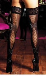 Sheer Thigh Highs with Sheer Lace-Up Detail and Lurex Bows